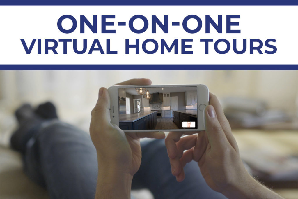 Picture of a man on a couch getting a virtual home tour on his iPhone